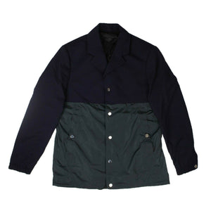 Wool And Polyester Coach Jacket - Navy Blue/Green