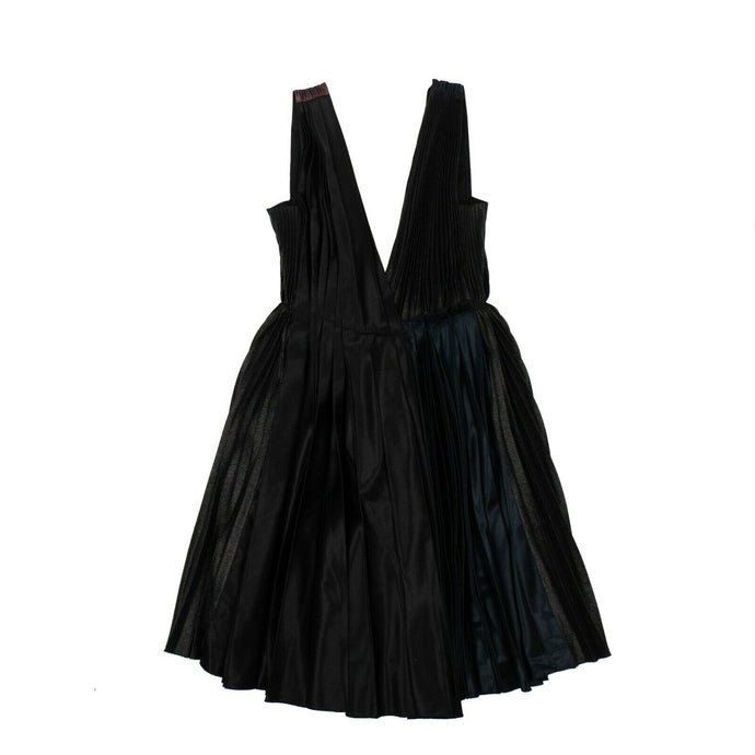 Pleated Plunging Neck Dress - Multicolored