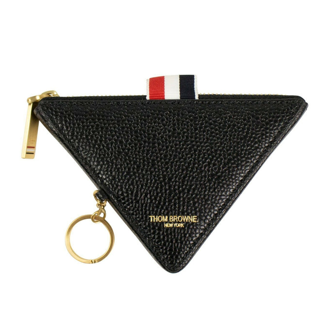 Leather Triangle Key Chain Coin Pouch - Black