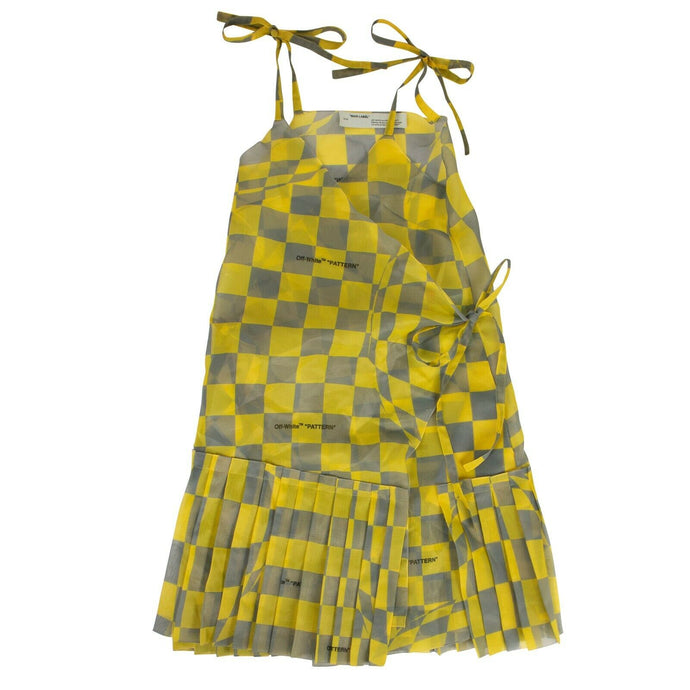 Check Asymmetric Dress - Yellow
