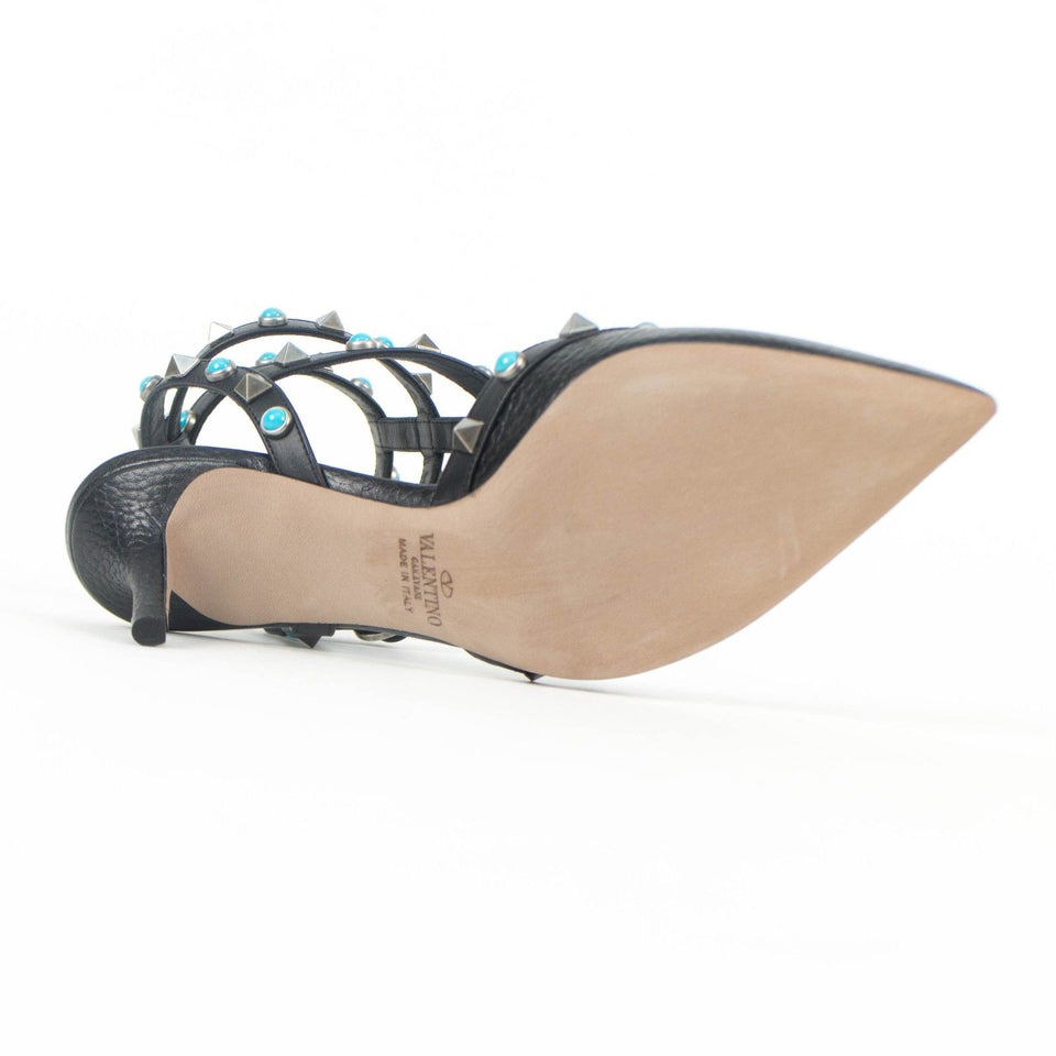 Rolling Rockstud Turquoise Caged Pumps - Black