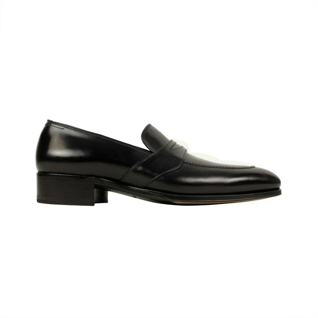 Leather 'Charles' Penny Loafers - Black