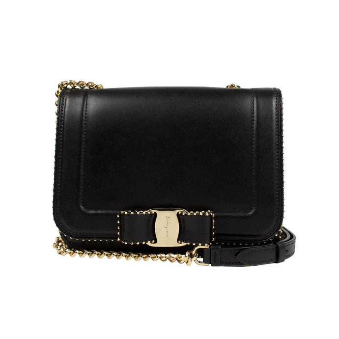 Leather Stud Vara Bow Flap Shoulder Bag - Black / Gold