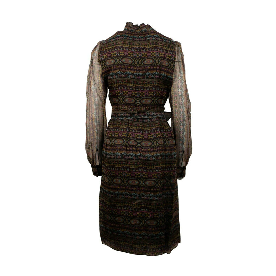 Silk Long Sleeve Patterned Dress - Multi
