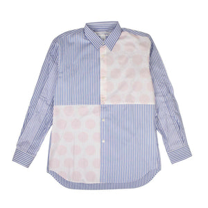 Cotton Stripe Dots Long Sleeves Poplin Shirt - Blue