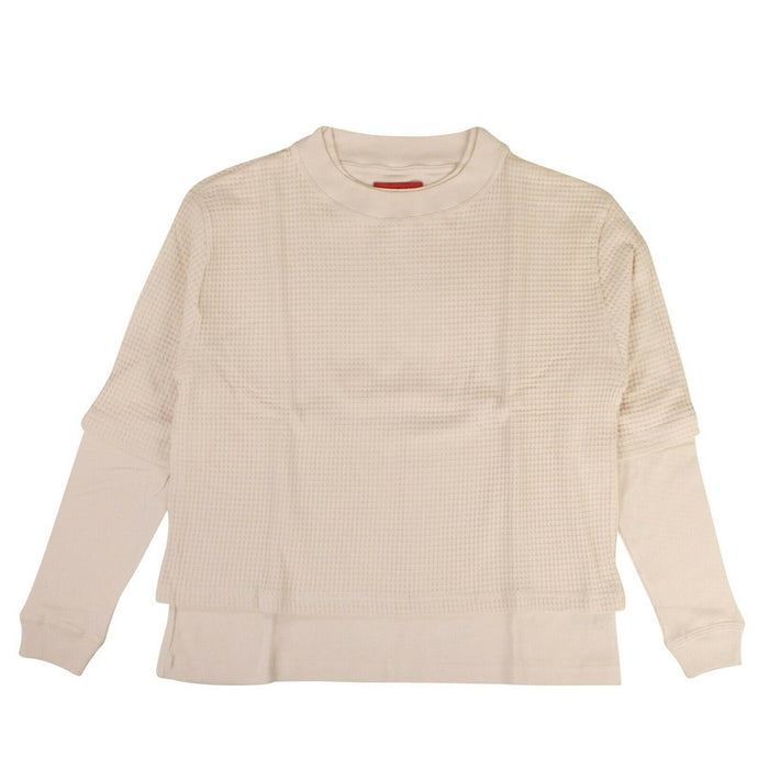 Cotton Long Sleeve Crew Neck Shirt - Beige