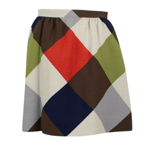 Wool Blend Color Block Skirt - Multi