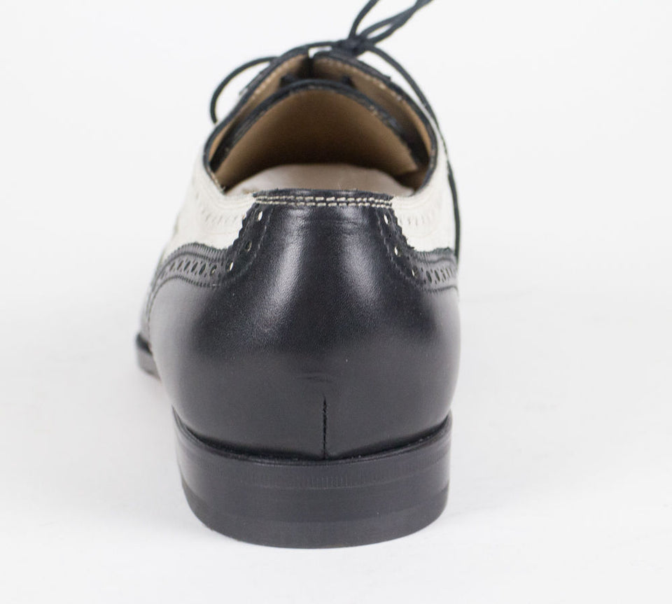 Leather & Suede Wingtip Oxfords - Black / White