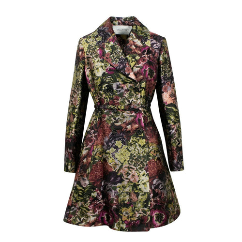 Floral Print Silk Blend Long Jacket - Multi
