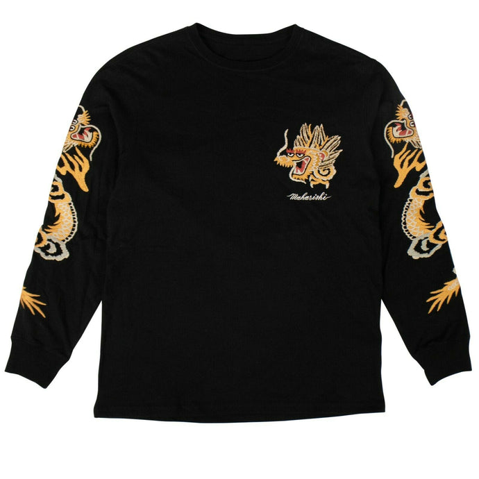 Organic Cotton Golden Long Sleeve T-Shirt - Black