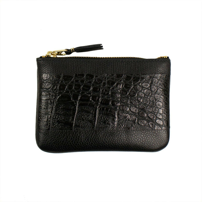 Reptile Leather Patchwork Wallet Pouch - Black