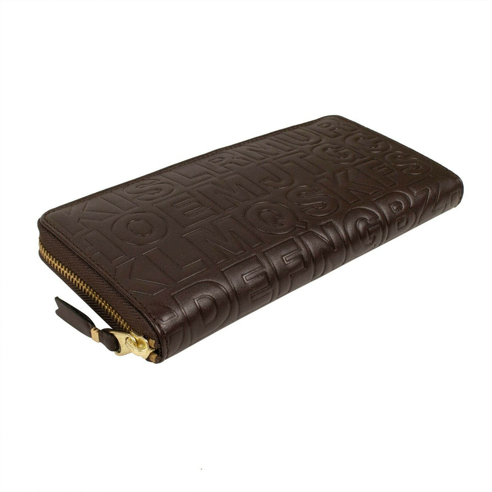Leather Letter Embossed Wallet - Brown
