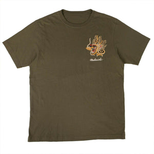 Organic Cotton Golden Dragon T-Shirt - Olive Green