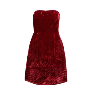 Velvet Strapless Fit And Flare Dress - Red