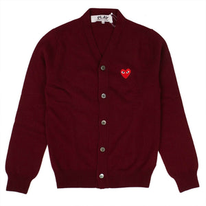 Wool Red Heart Cardigan Sweater - Burgundy