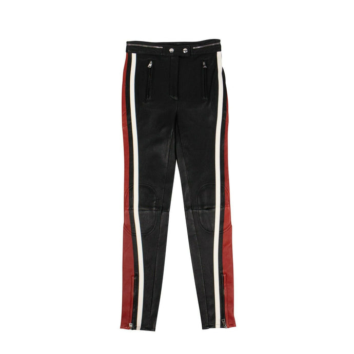 Leather Striped At Sides Pants - Black