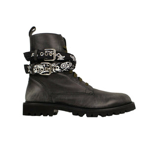 Leather Bandana Combat Boots - Black