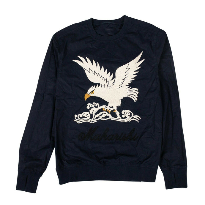 Organic Cotton Eagle Woven Track Top - Navy Blue