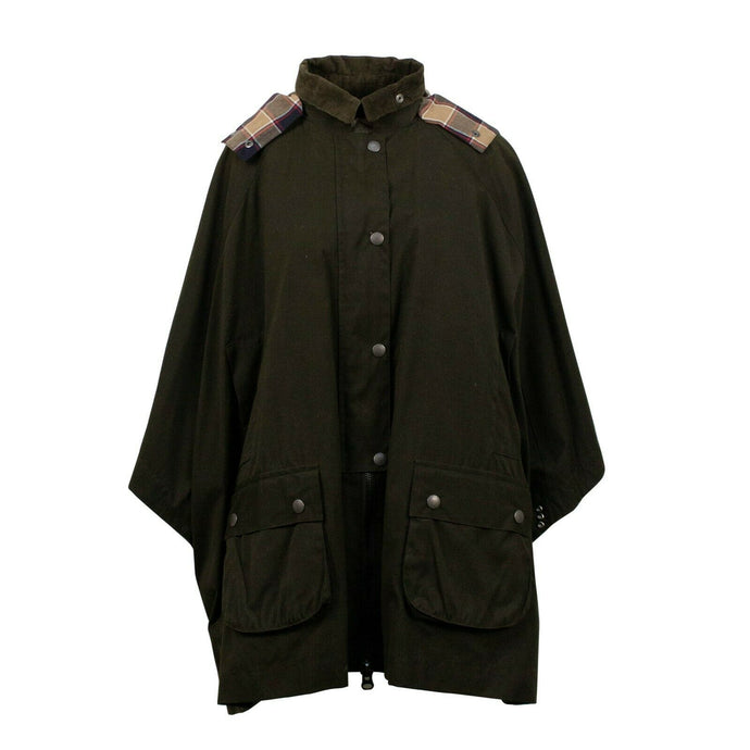 Wool Lined Cape Coat - Olive Green