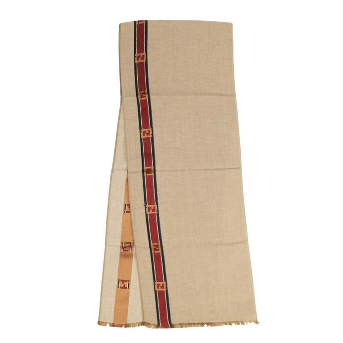 Cotton/Silk 'Logo Stripe' Scarf - Camel