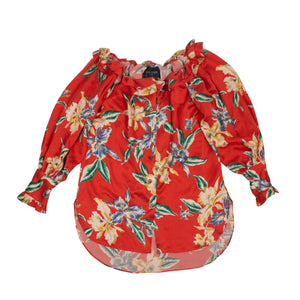 Silk Floral 'Aloha' Off-Shoulder Blouse - Red