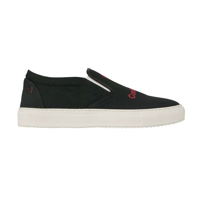 Canvas 'Confidential' Slip-On Sneakers - Black