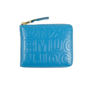 Leather Letter Embossed Small Wallet - Blue