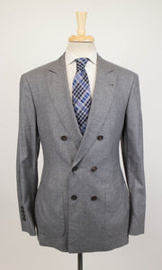 Cashmere Blend Double Breasted Sport Coat - Gray