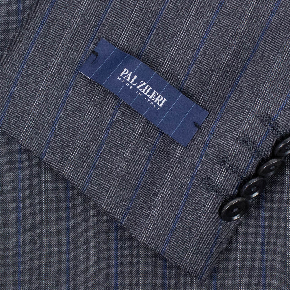 Multi Striped Wool Double- Breasted Suit - Blue
