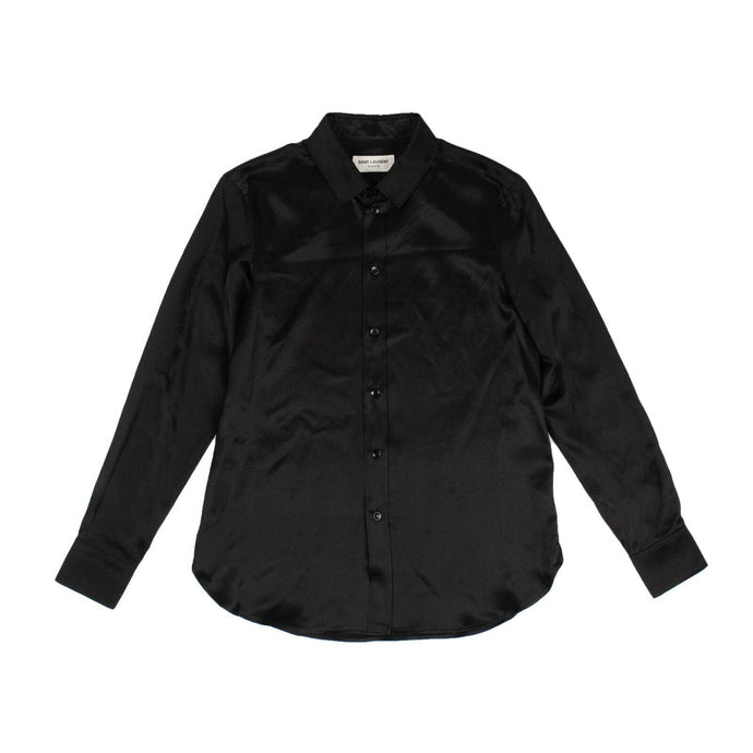 Silk Classic Blouse Shirt - Black