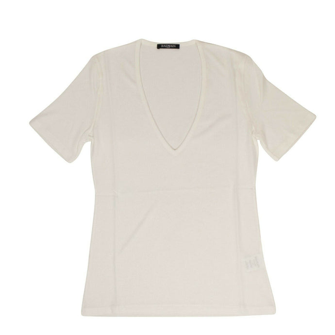 Short Sleeve Deep V Neck Knit T-Shirt - White