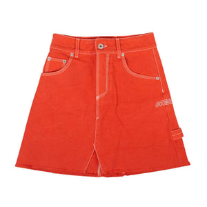 Denim Mini Skirt - Coral Red