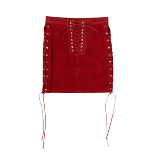 Suede Side Lace-Up Mini Skirt - Red