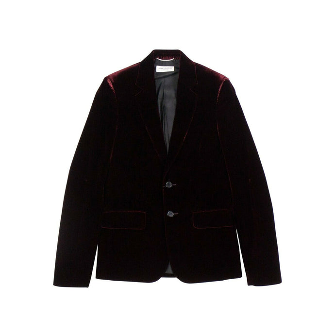 Velvet Classic Suit Jacket - Burgundy