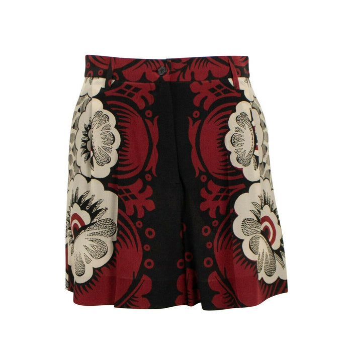 Multi-Color Printed Silk Pleated Front Shorts - Red / Beige