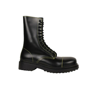 Leather Lace Up Combat Boots - Black