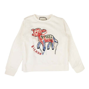 Cotton 'Fawn Bichon' Crewneck Sweatshirt - Off-White