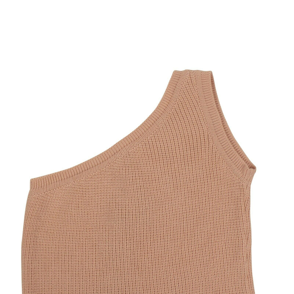 Cotton One Shoulder Knit Mini Dress - Pink