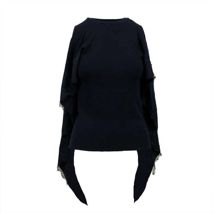 Knit  With Lace Detail Cape Top - Navy