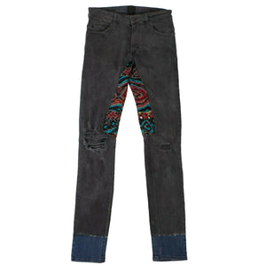 Dino Jacquard And Dip Dyed Jeans - Gray