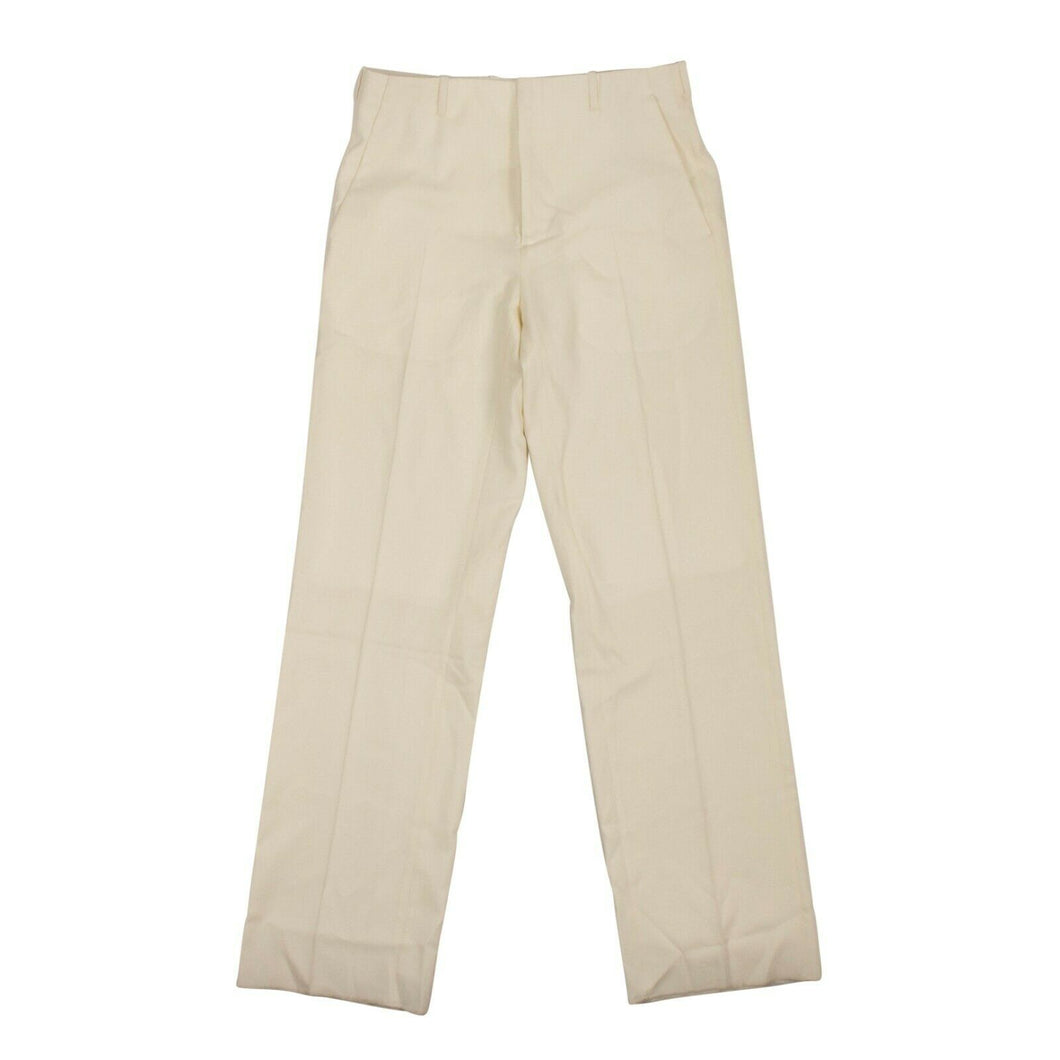 Wool Classic Tailored Straight Leg Pants - Ivory