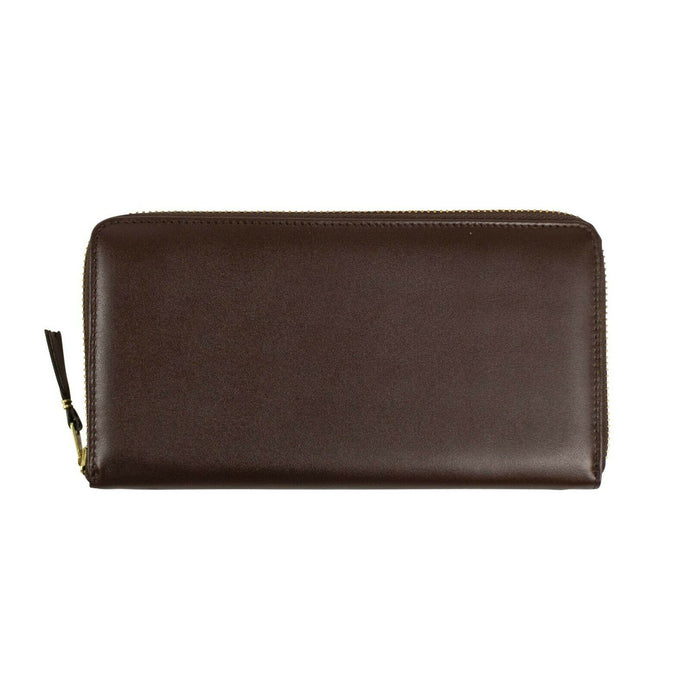 Leather Zip Around Wallet - Brown