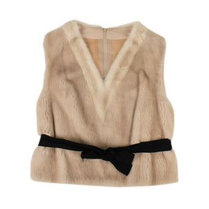 Mink Fur 'Two Striped V-Neck' Vest - Pink