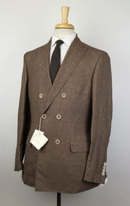 Birdseye Wool Blend Double Breasted Suit - Brown