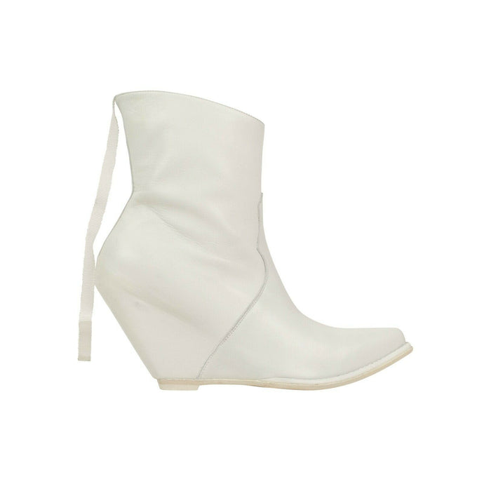 Leather Western Low Boots - White