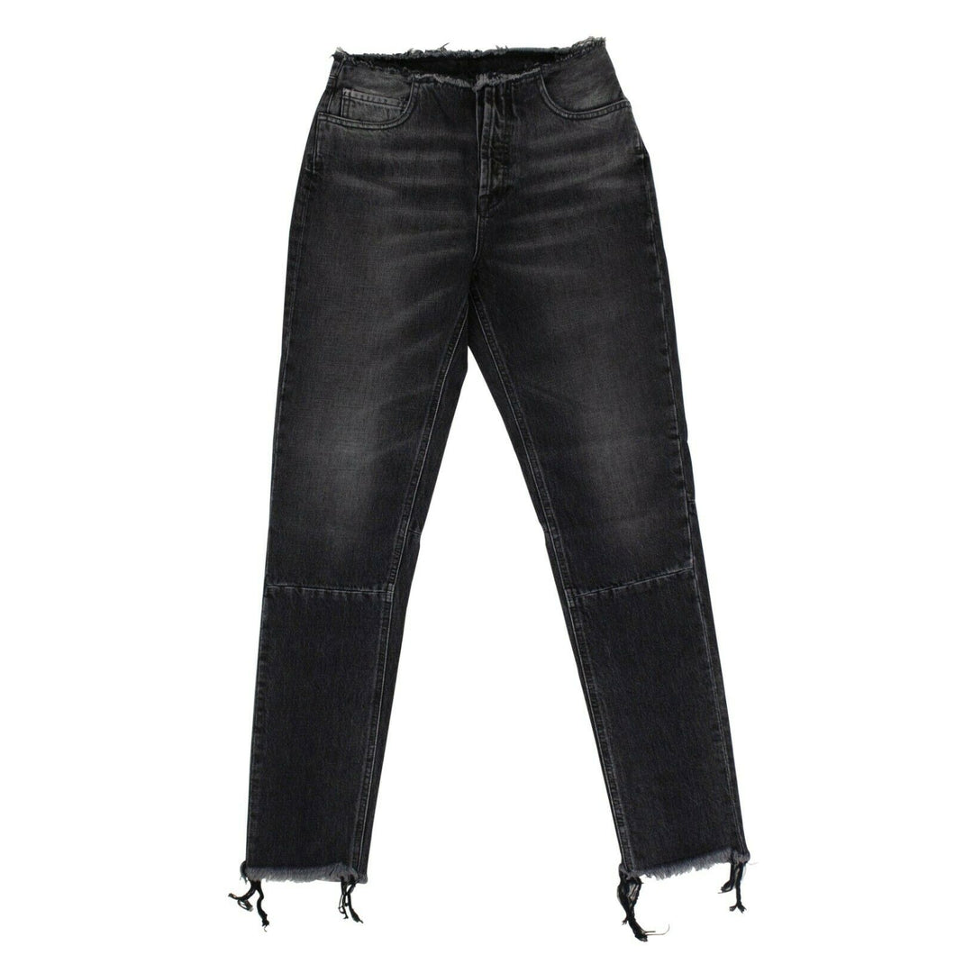 Cotton Frayed Tapered Jeans Pants - Black