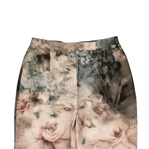 Cotton Floral Tailored Pants - Pink / Gray
