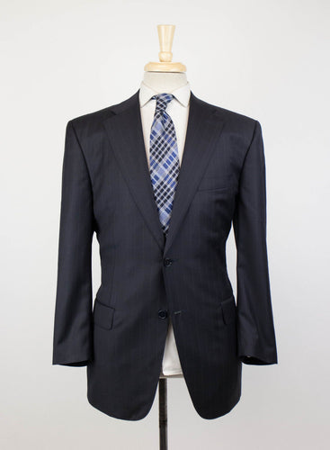 Drop 7 Striped Wool 2 Button Suit - Black