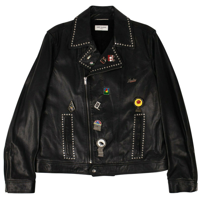 Leather Logo Pin Motorcycle Jacket - Black