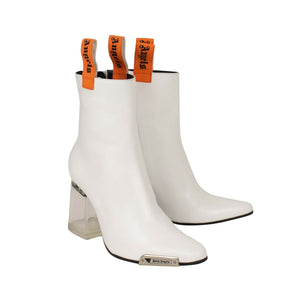 Block Heels Ankle Boots - White